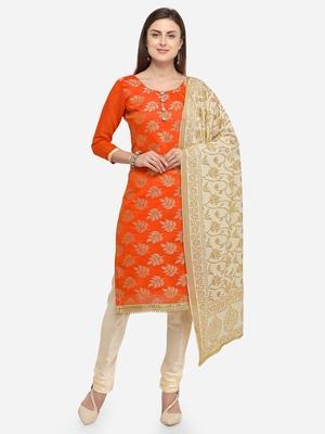 Orange jacquard chanderi salwar