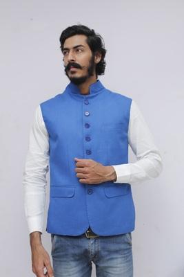 Blue plain woolen blends nehru-jacket