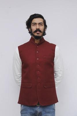 Maroon plain woolen blends nehru-jacket
