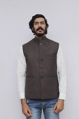 Brown plain cotton nehru-jacket