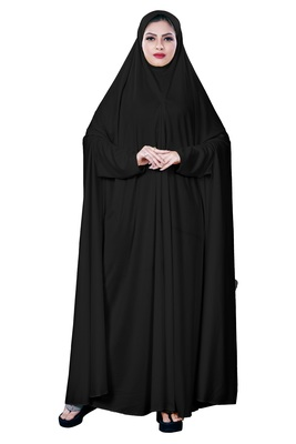 Justkartit Women'S Hosiery Plain Black Color Arabic Style Chaderi Burkha