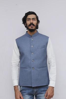 Blue plain cotton nehru-jacket