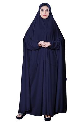 Justkartit Women'S Hosiery Plain Navy Blue Color Arabic Style Chaderi Burkha