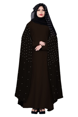 Justkartit Coffee Color Occasion Wear Nida Chiffon Abaya Burka with Pearl Work and Hijab Scarf