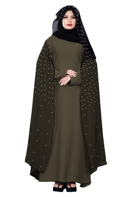 Justkartit Ivory Color Occasional Wear Women'S Nida + Chiffon Abaya Burka With Hijab Scarf