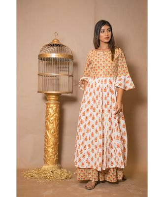 off white plain Cotton stitched kurta sets