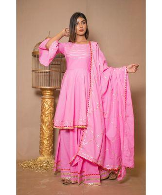 pink plain Cotton stitched kurta sets