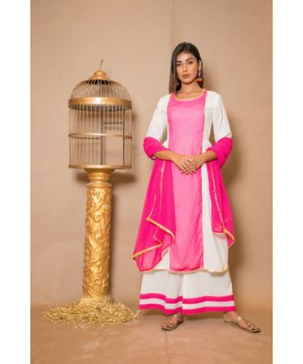 White plain Cotton stitched kurta sets