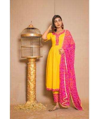 Yellow plain Cotton stitched kurta sets