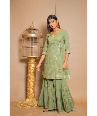 green plain Cotton stitched kurta sets