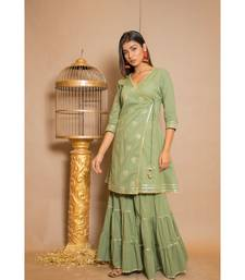 green plain Cotton stitched kurta sets