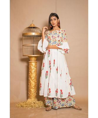 White plain Cotton stitched kurta sets