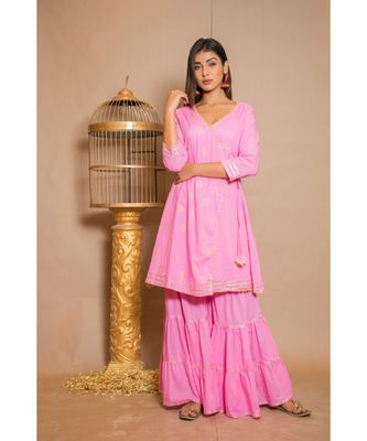 Pink plain Cotton stitched kurta sets