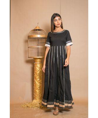 Black plain Cotton stitched kurta sets