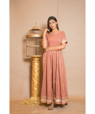 brown plain Cotton stitched kurta sets