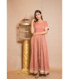 brown plain Cotton stitched kurta sets