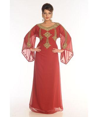 Red Georgette Embroidered Zari_Work Islamic-Kaftans