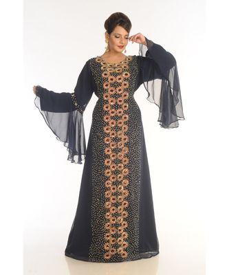 black georgette embroidered zari_work islamic-kaftans