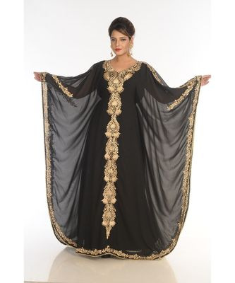black georgette embroidered zari_work islamic-kaftans