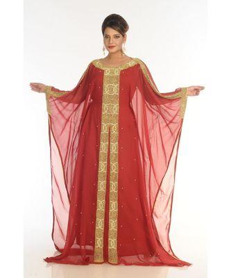 maroon georgette embroidered zari_work islamic-kaftans