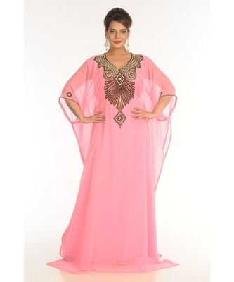 Pink Georgette Embroidered Zari_Work Islamic-Kaftans