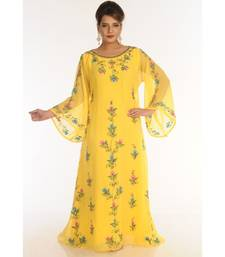 Yellow Georgette Embroidered Zari_Work Islamic-Kaftans