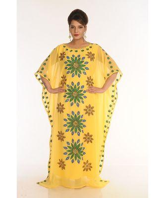 yellow georgette embroidered zari_work islamic-kaftans