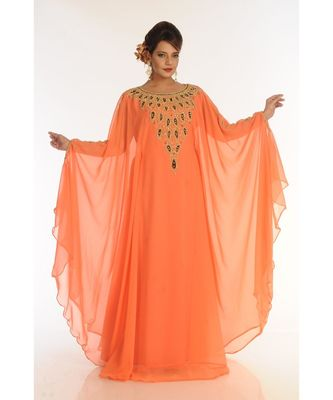 Orange Georgette Embroidered Zari_Work Islamic-Kaftans