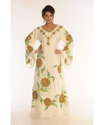 Cream Georgette Embroidered Zari_Work Islamic-Kaftans