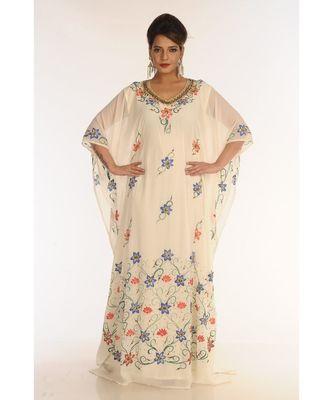 cream georgette embroidered zari_work islamic-kaftans