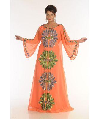 Orange Georgette Embroidered Zari_Work Islamic-Kaftans