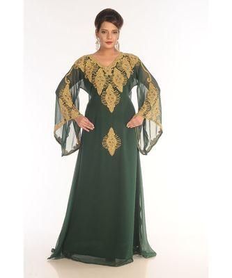 Green Georgette Embroidered Zari_Work Islamic-Kaftans