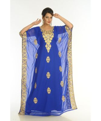 Blue Georgette Embroidered Zari_Work Islamic-Kaftans