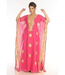 Pink Georgette Embroidered Zari_Work Islamic-Kaftans