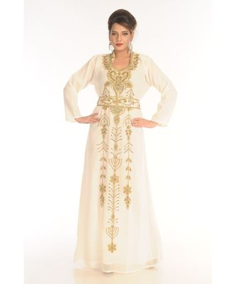 Multicolor Georgette Embroidered Zari_Work Islamic-Kaftans