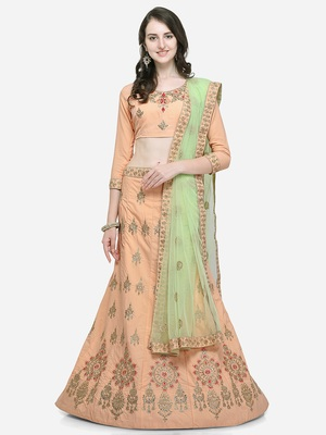 Peach embroidered satin semi stitched lehenga