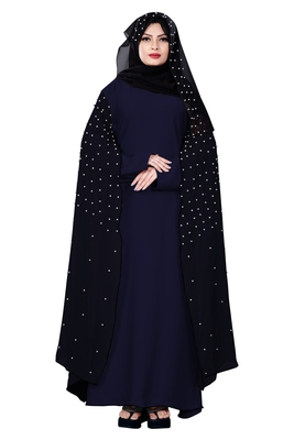 Justkartit Metallic Blue Color Nida + Chiffon Abaya Burka With Pearl Work