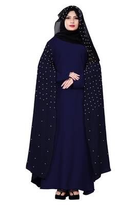 Justkartit Navy Blue Color Nida + Chiffon Abaya Burka Wth Hijab Scarf For Women