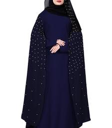 Justkartit Navy Blue Color Nida + Chiffon Abaya Burka Wth Hijab Scarf For Women