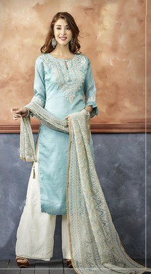 Sky Blue Color palazzo style suit