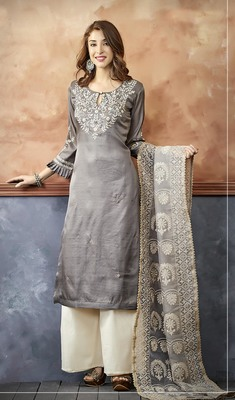Grey Embroidery Silk Palazzo Suit