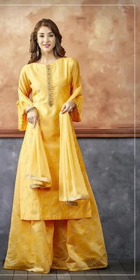 Yellow Chanderi Silk Palazzo suit