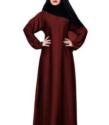 Justkartit Cherry Color Plain Nida Abaya Burka With Chiffon Hijab Scarf For Women