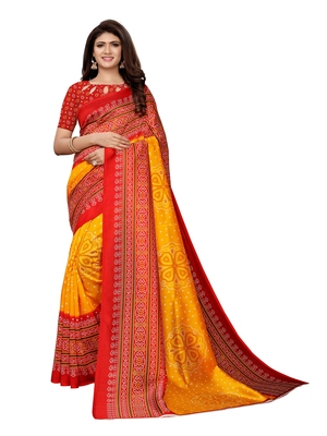 Yellow printed poly silk saree with blouse
