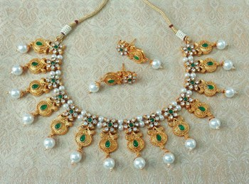 Lalso Beautiful Delicate Pearl Drop Green Necklace Earring Jewelry Set - LDN20_GR