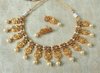 Lalso Beautiful Delicate Pearl Drop Golden Necklace Earring Jewelry Set - LDN20_LCT