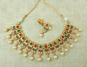 Lalso Beautiful Delicate Pearl Drop Multicolor Necklace Earring Jewelry Set - LDN21_MG