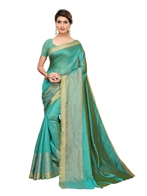 Turquoise woven poly silk saree with blouse