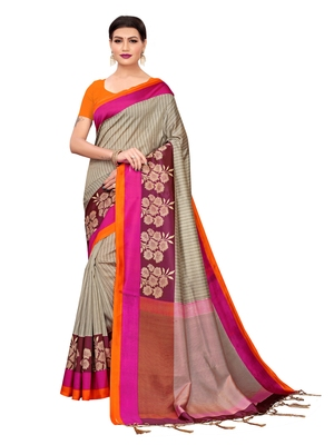 Grey printed poly silk saree with blouse