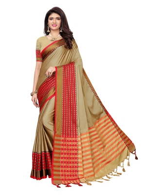 Beige woven poly silk saree with blouse